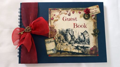 A5 Alice in Wonderland Themed Guest Book for Parties or Weddings