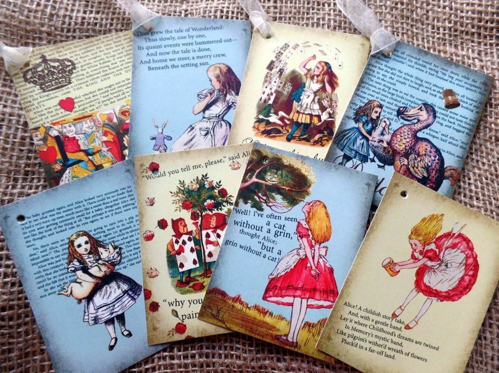 8 Colourful Alice in Wonderland Themed Vintage Style Gift Tags