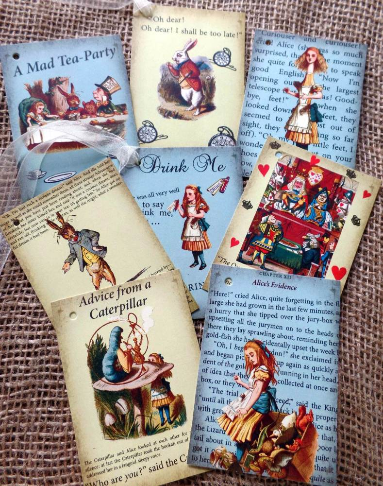 8 Colourful Alice in Wonderland Themed Vintage Style Gift Tags (Set 2)