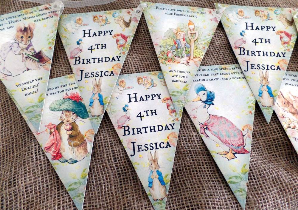 3m Personalised Beatrix Potter Peter Rabbit Bunting