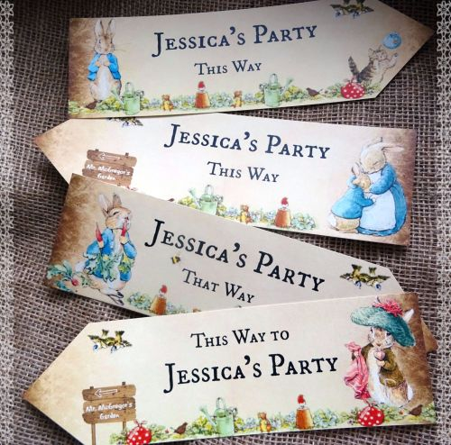 Set of 4 Personalised Beatrix Potter Peter Rabbit Large Party Decoration Ar