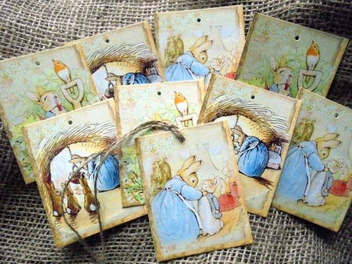 Set of 9 Beatrix Potter Peter Rabbit Gift Tags & Jute String