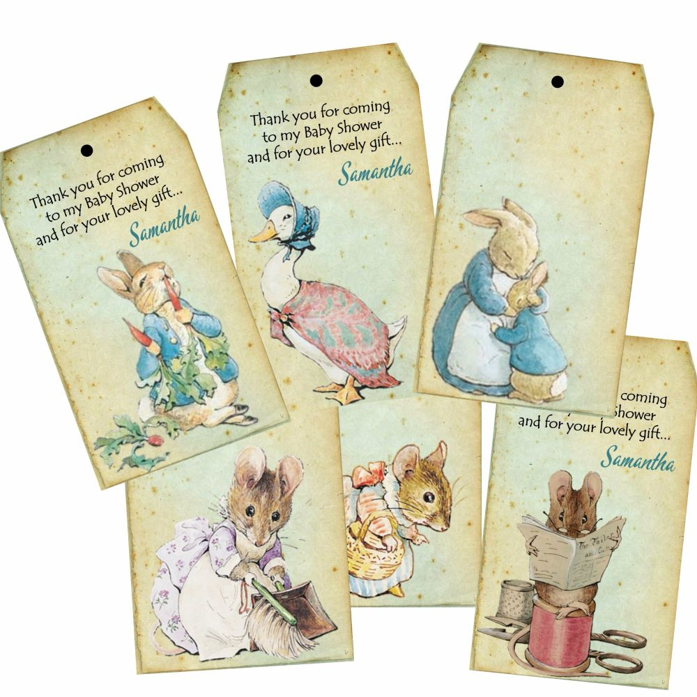 Set of 6 Beatrix Potter Peter Rabbit Personalised Tags & Ribbon