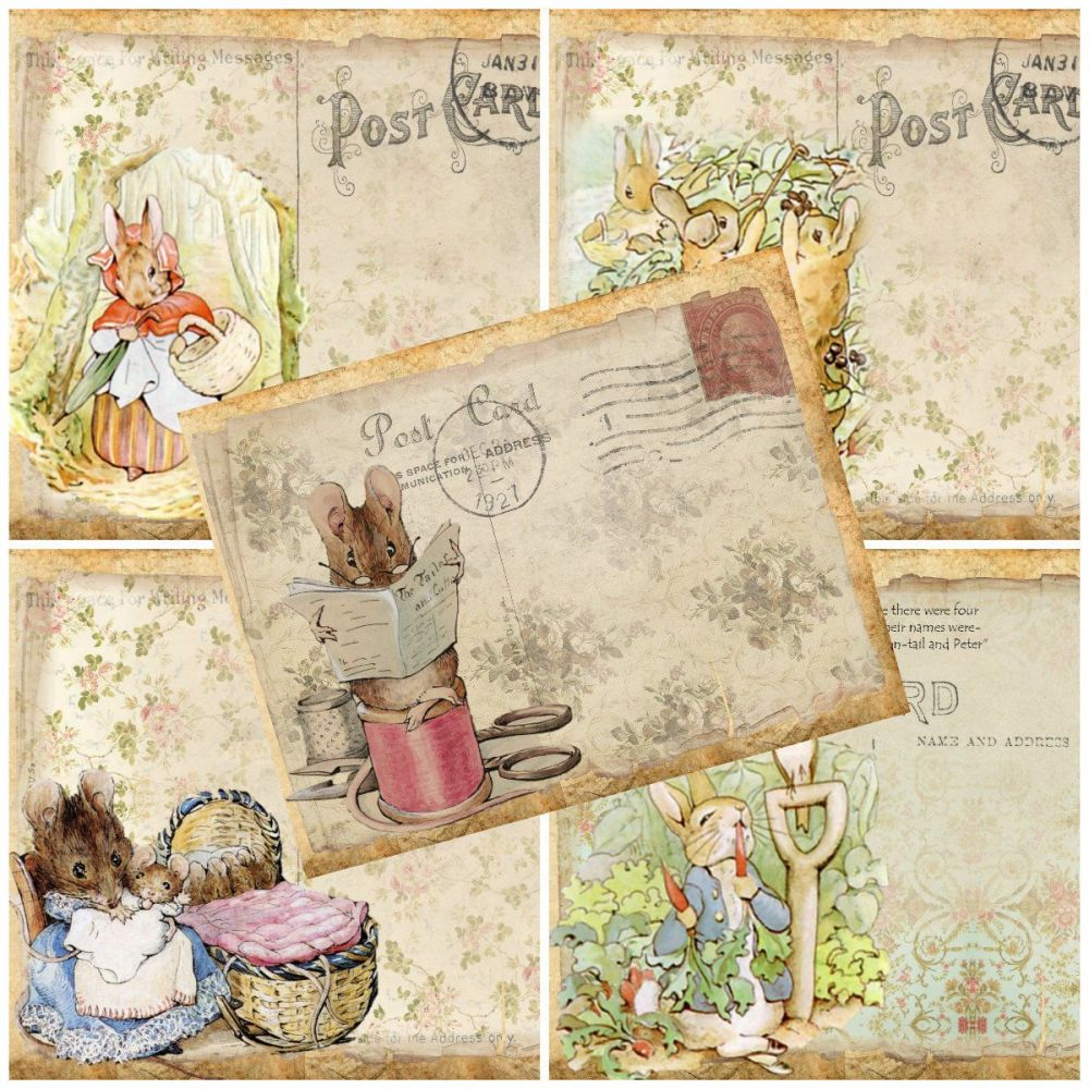 5 x Beatrix Potter/Peter Rabbit Character Post Cards