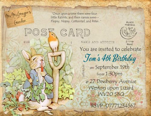 4 x Peter Rabbit Personalised Birthday/Christening Invitations & Envelopes