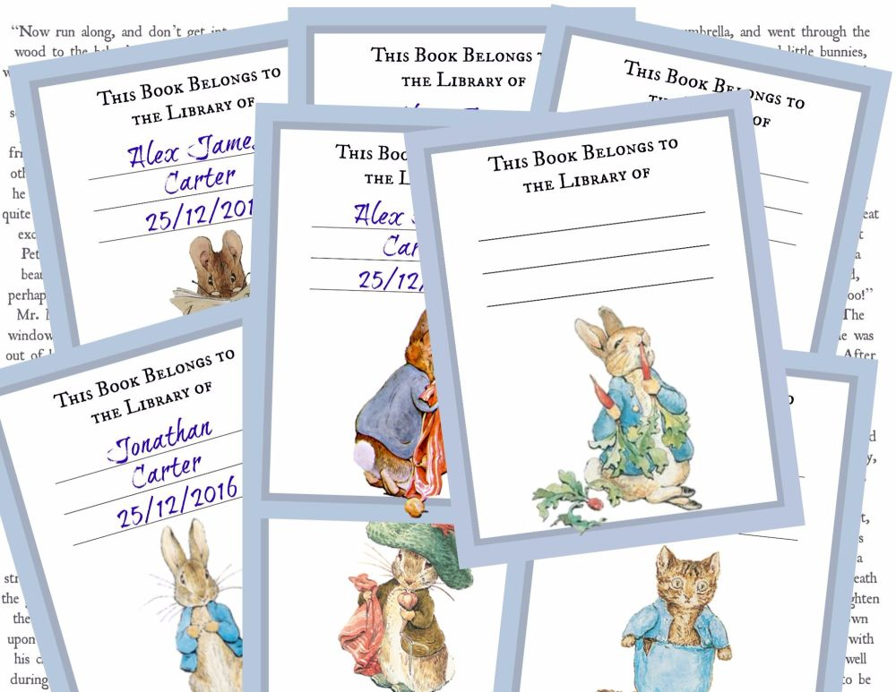 8 Beatrix Potter Peter Rabbit 'This book belongs to' Labels/Book Plates