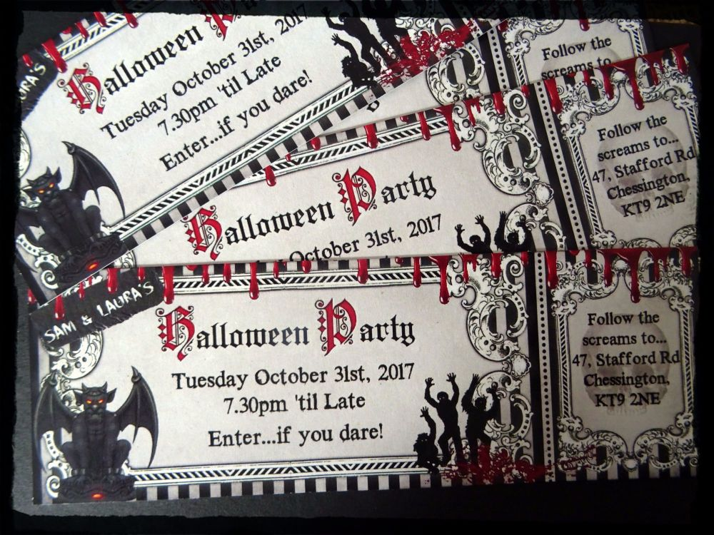 4 x Personalised Halloween/Scary Party Invitations & Black Envelopes