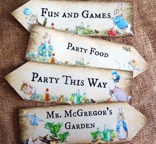 Set of 4 Beatrix Potter Peter Rabbit Large Party Decoration Arrows