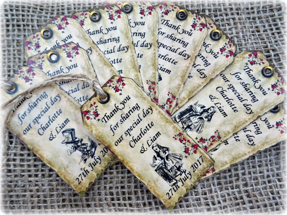 12 Personalised Alice in Wonderland 'Thank you' Gift Tags & Jute Twine