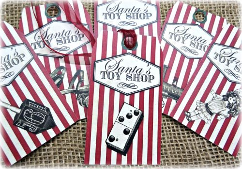 Set of 6 Large Vintage 'Santa's Toy Shop' Christmas Gift Tags & Ribbon