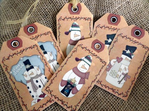Set of 6 Large Primitive Snowmen Gift Tags and Ribbon