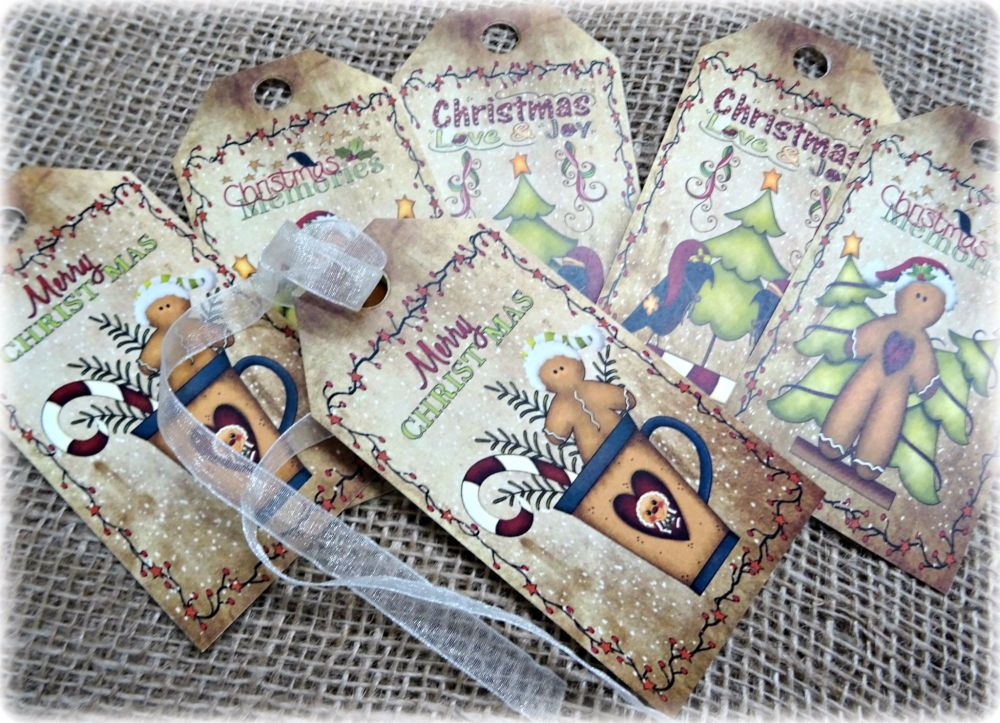 Set of 6 Large Primitive Gingerbread Man Christmas Gift Tags and Ribbon