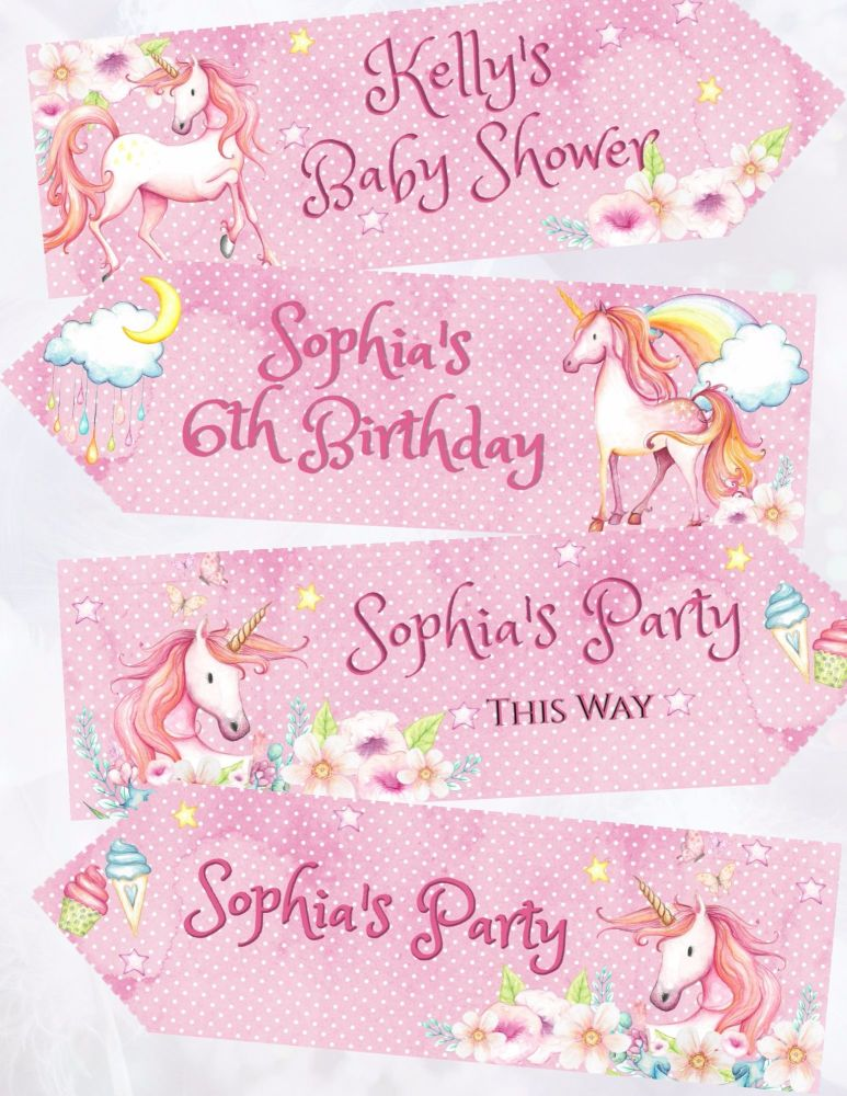 Set of 4 Fairy Tale Unicorn Personalised Large Party Decoration Arrows