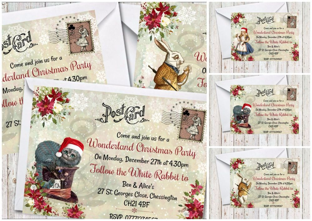4 x Alice in Wonderland Personalised Christmas Party Invitations & Envelope