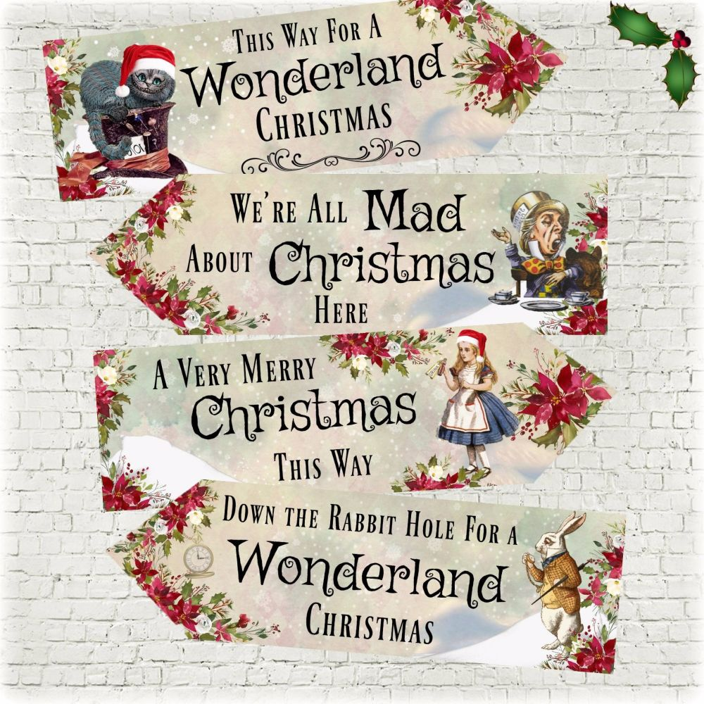 Set of 4 Alice in Wonderland Large Christmas Decoration Arrows