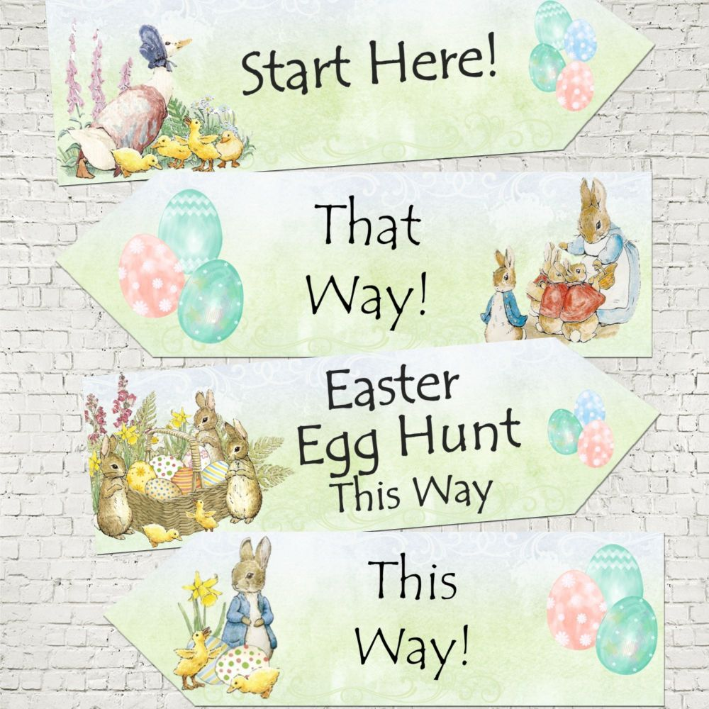 Set of 4 Beatrix Potter Peter Rabbit Easter Egg Hunt Decoration Arrows