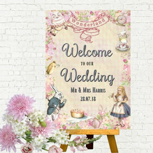 Alice in Wonderland 'Welcome to Our Wedding' A4 Card Sign - Frame Not Inclu