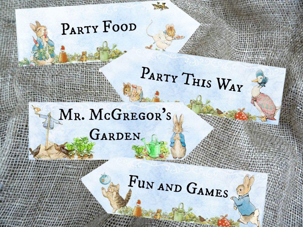 Set of 4 Blue Background Beatrix Potter Peter Rabbit Party Decoration Arrow
