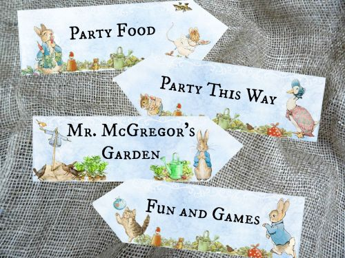 Set of 4 Blue Background Beatrix Potter Peter Rabbit Party Decoration Arrow