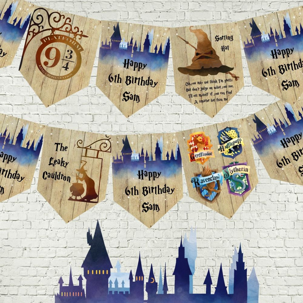 Personalised Hogwarts Harry Potter School of Magic Bunting/Banner & Ribbon
