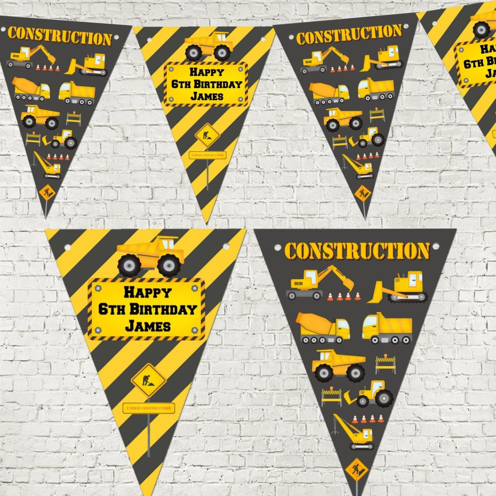 Personalised Construction Digger Bunting/Banner with Organza Ribbon - 3m