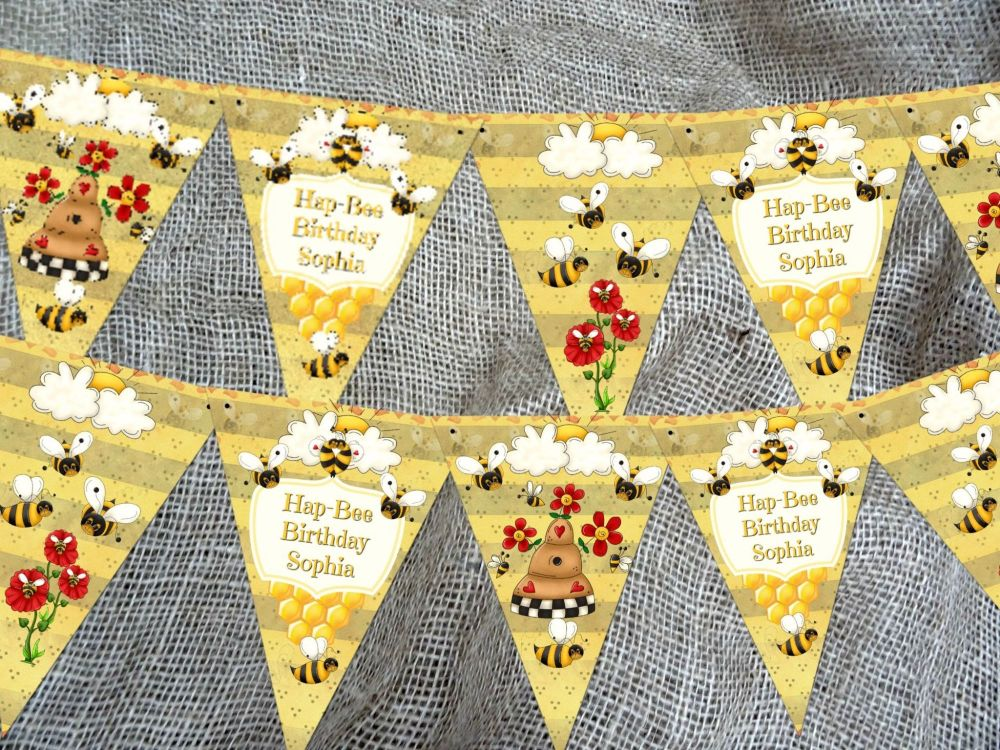 Personalised Bumble Bee Bunting/Banner with Organza Ribbon - 3m