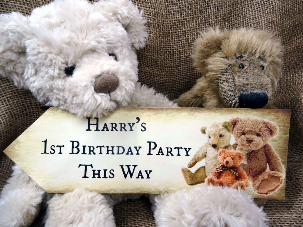 Set of 4 Personalised Teddy Bear's Picnic Large Party Decoration Arrows