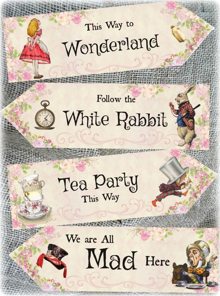 4 Alice in Wonderland Large Pink Party Decoration Arrows Signs