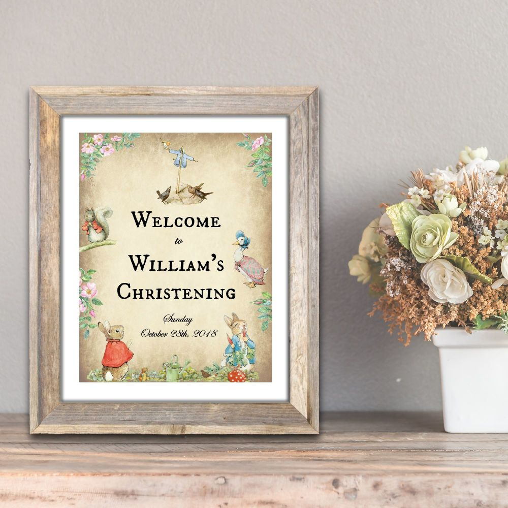 Personalised Beatrix Potter Peter Rabbit Party/Christening Welcome Sign
