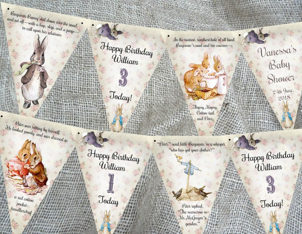 3m Personalised Benjamin Bunny Peter Rabbit Bunting/Banner - Any Occasion