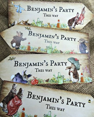 4 Personalised Beatrix Potter Benjamin Bunny Peter Rabbit Party Arrows Sign