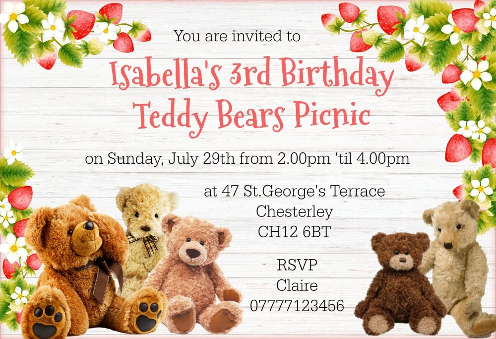 4 x Strawberry Teddy Bear's Picnic Personalised Invitations & Envelopes