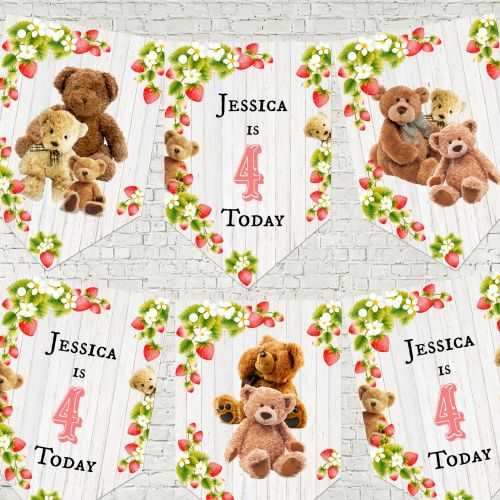 Strawberry Teddy Bear Personalised Party Bunting/Banner & Ribbon