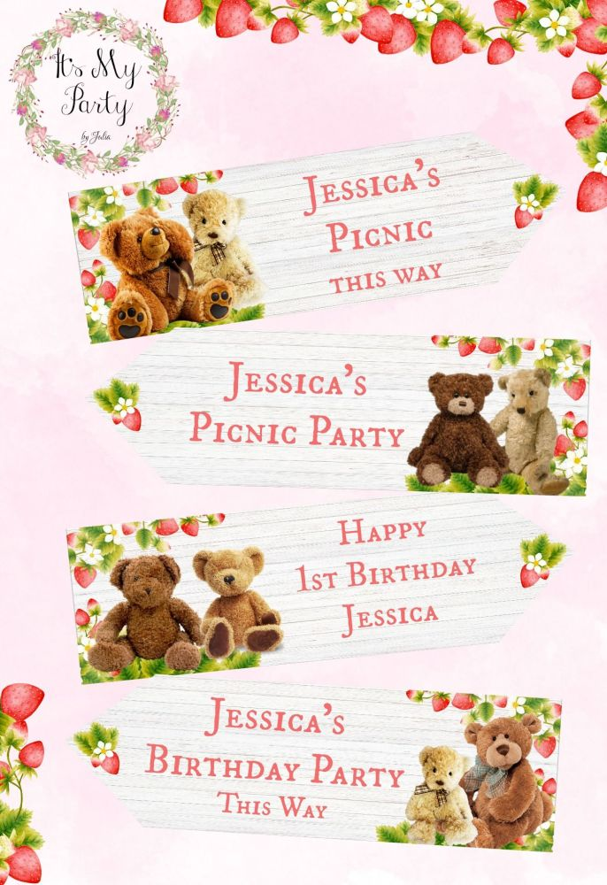 4 Personalised Strawberry Teddy Bear's Picnic Large Party Decoration Arrows