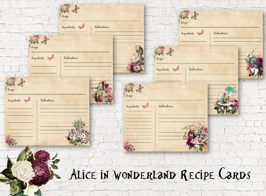 Alice in Wonderland Blank Recipe Cards - Set Of 6 Assorted