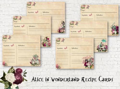Alice in Wonderland Blank Recipe Cards - Set Of 6 Assorted