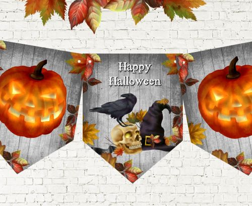 Happy Halloween Pumpkin Party Bunting/Banner & Ribbon - 3m