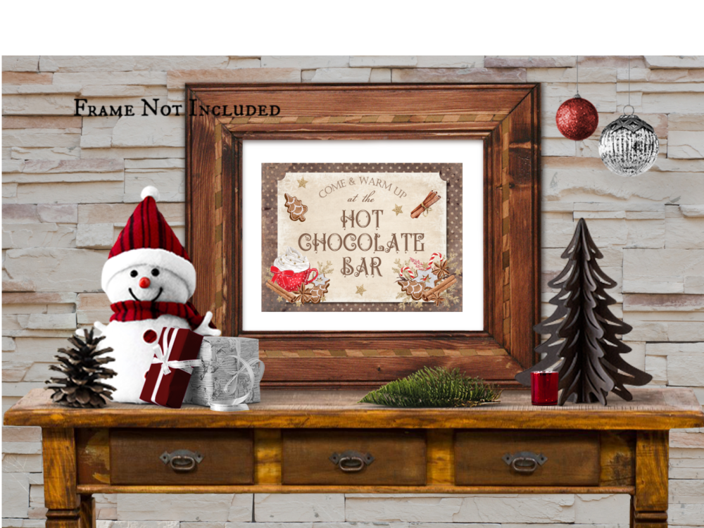 Christmas Hot Chocolate Bar Wall Art A4 Sign