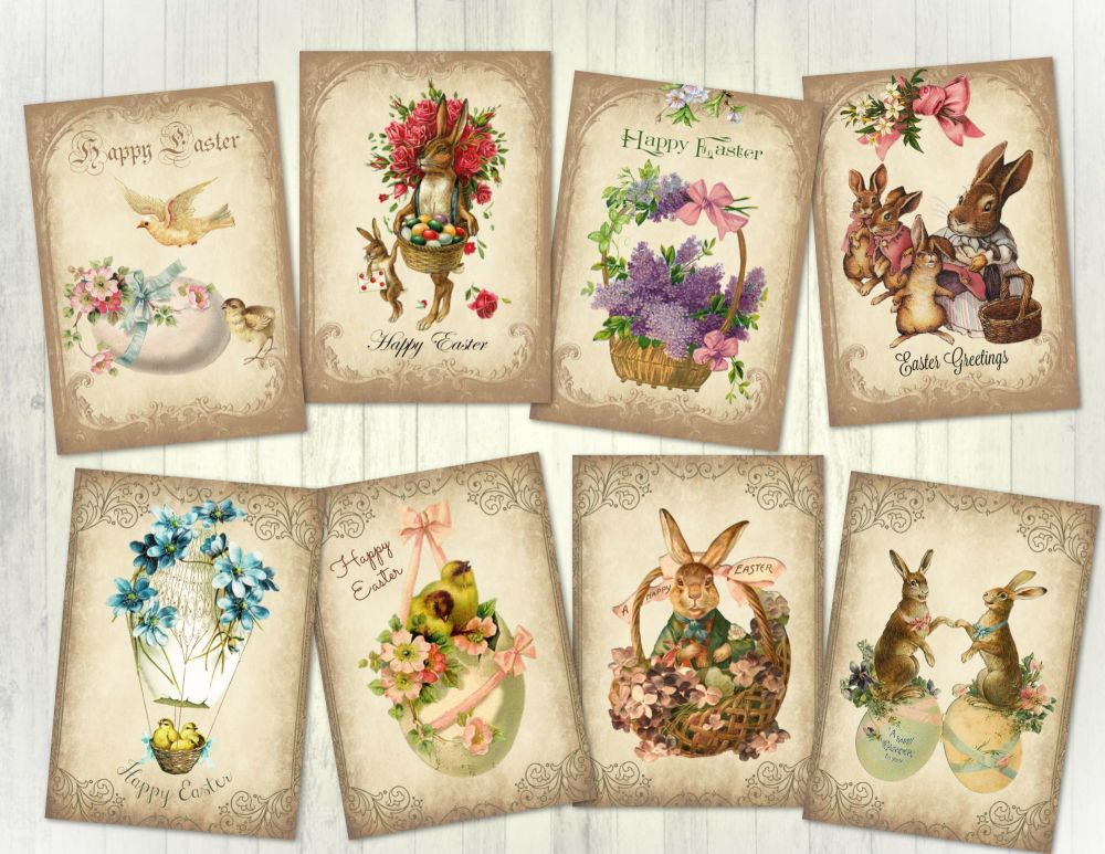 8 Vintage Style Easter ATC Card Making Tags Embellishments