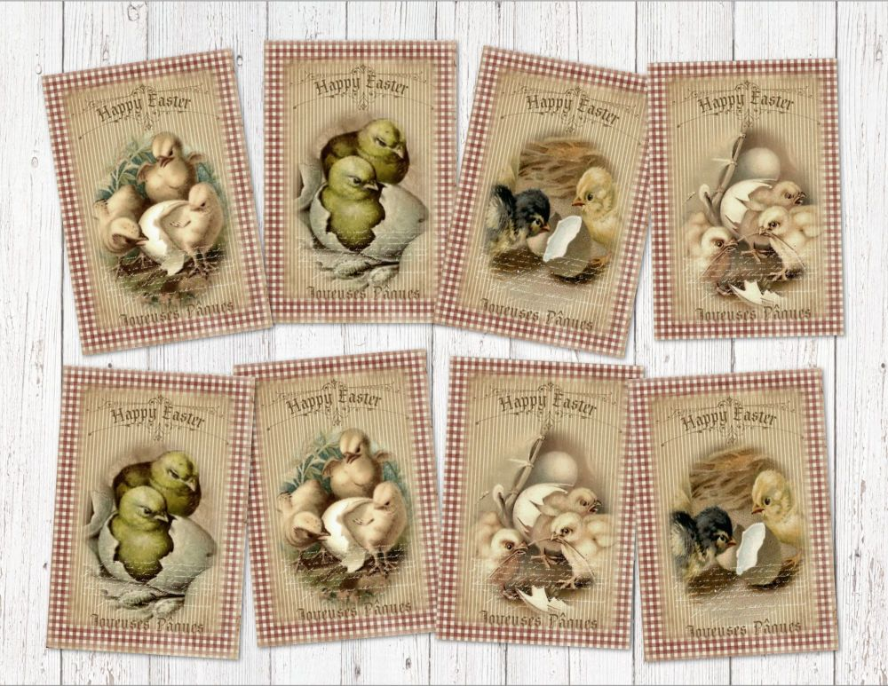 "Set of 8 Vintage Rustic Country Style Easter Chick ATC Tags/Toppers - 2"" x 4"""