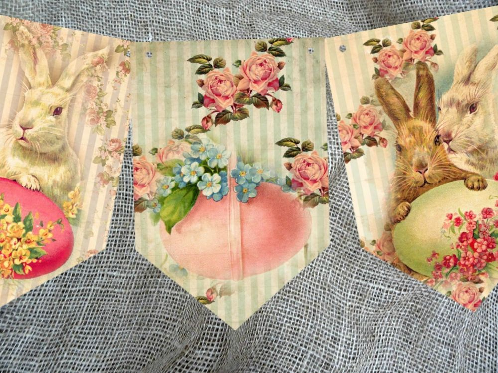 Traditional Vintage Style Easter Bunting - 8 Flags