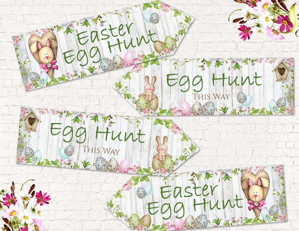 Set of 4 Spring Blossom Easter Egg Hunt Decoration Arrows