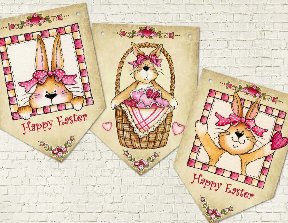 Honey Bunny Prim Style Easter Bunting - 8 Flags