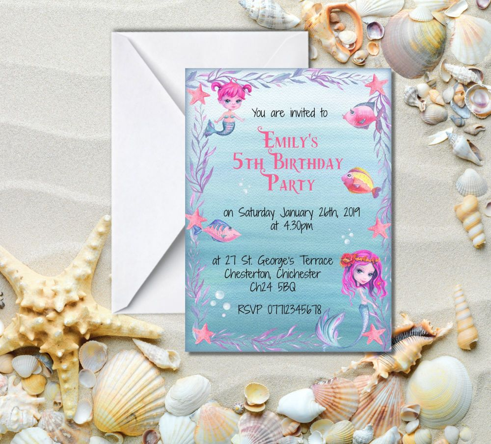 6 Mermaid Party Invitations & Envelopes