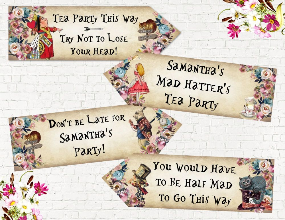 4 Personalised Alice in Wonderland Navy Peony Floral Party Decoration Arrows