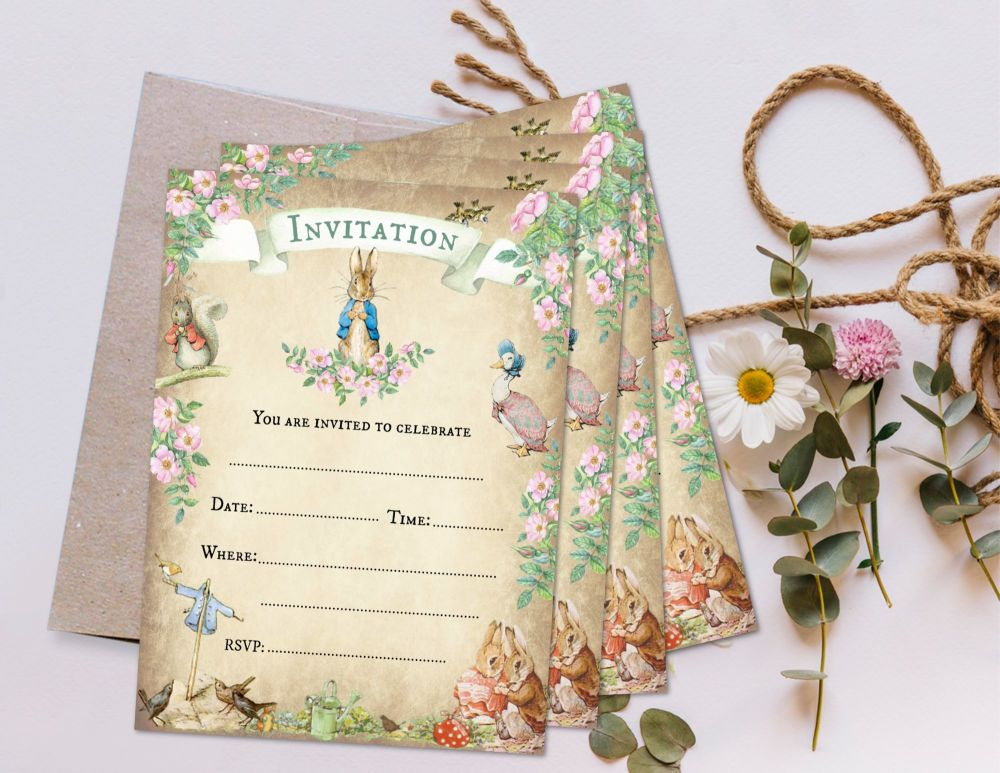 4 Peter Rabbit Beatrix Potter Invitations & Envelopes for Any Occasion