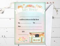 4 Peek-a-Boo Kittens Baby Shower Invitations & Envelopes