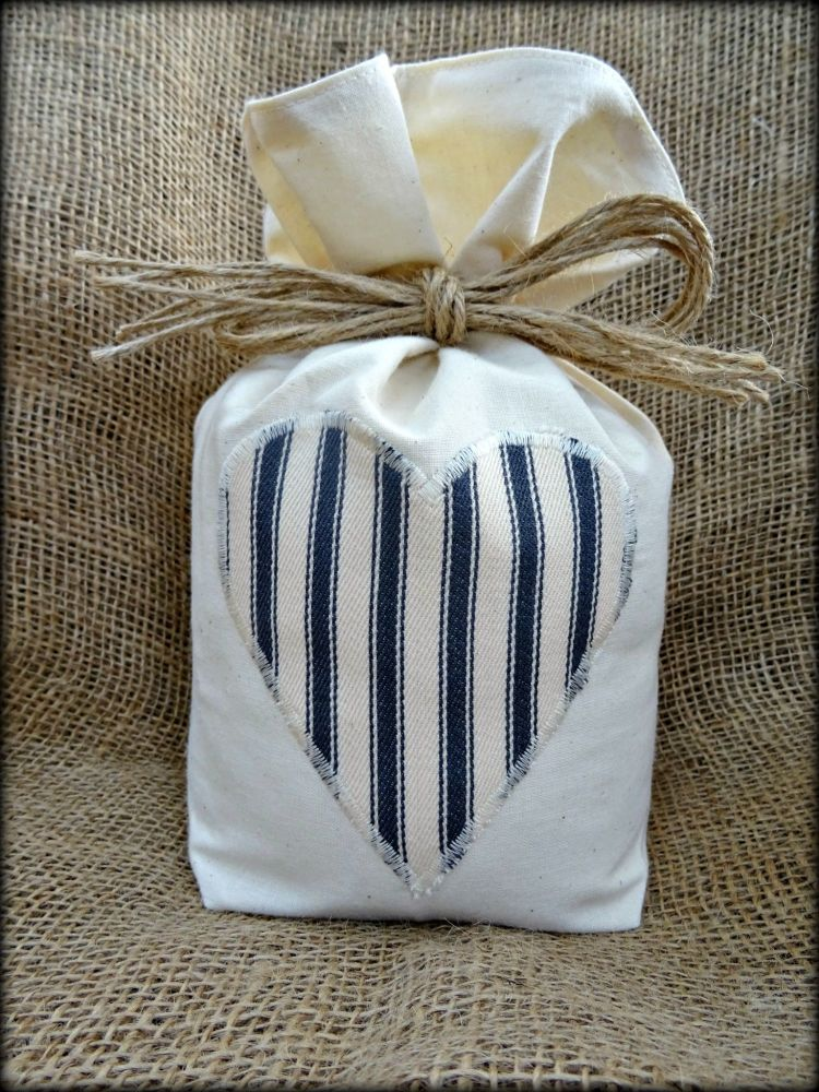 Cotton Door Stop With Charcoal Grey & Cream Ticking Striped Heart - Unfilled