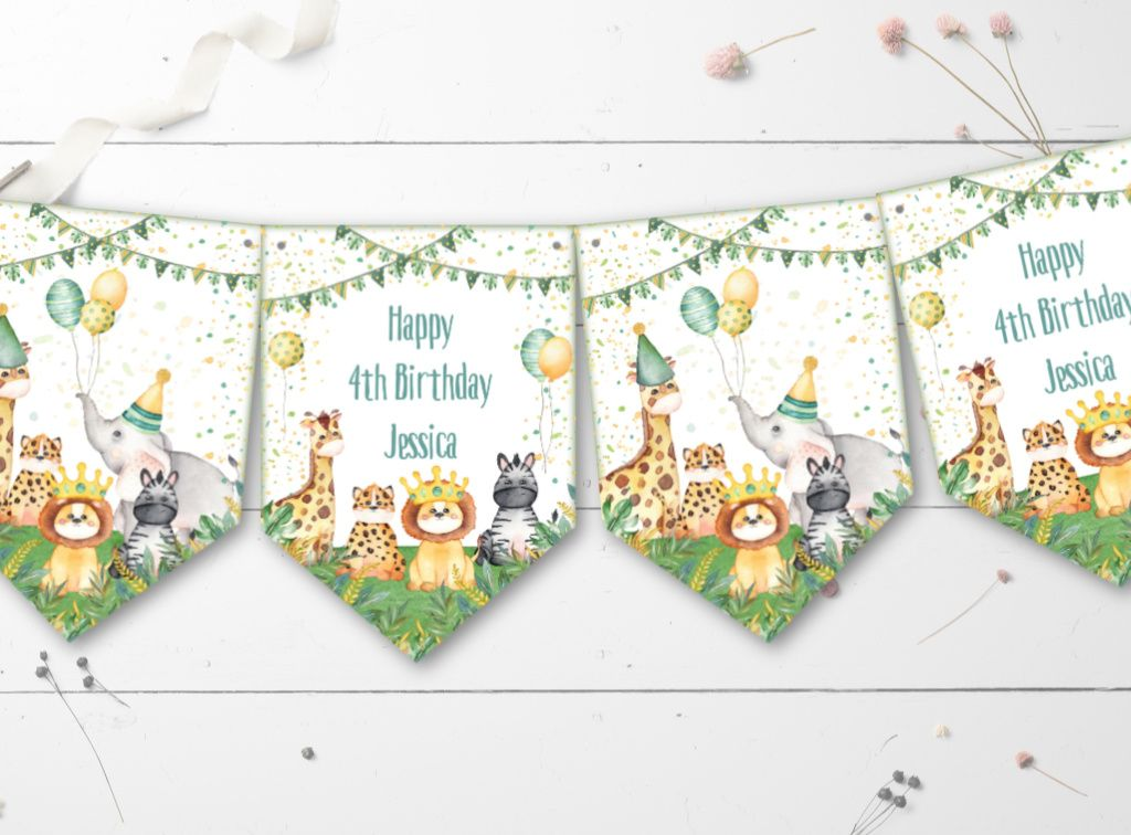Jungle Safari Personalised Party Bunting/Banner & Ribbon - Any Occasion