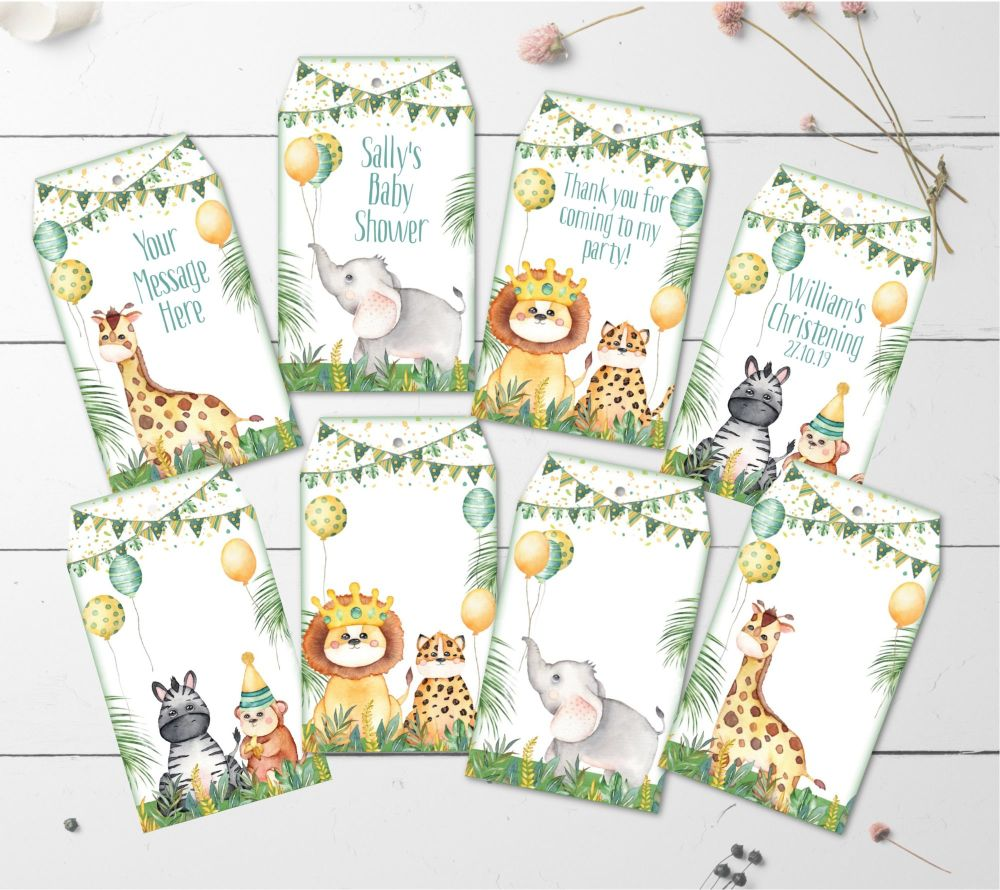 8 Personalised Jungle Safari Animals Gift Tags & String